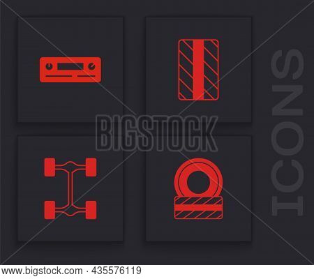 Set Car Tire Wheel, Audio, And Chassis Car Icon. Vector