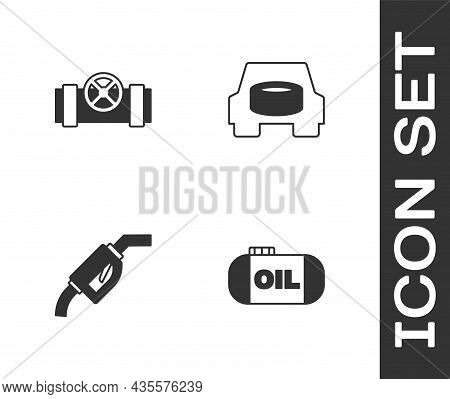 Set Oil Tank Storage, Metallic Pipes And Valve, Gasoline Pump Nozzle And Spare Wheel The Car Icon. V