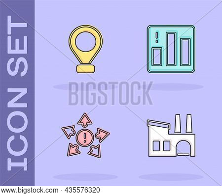 Set Factory, Location, Many Ways Directional Arrow And Pie Chart Infographic Icon. Vector