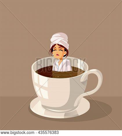 Sleepy Woman Swimming In Coffee Vector Cartoon Illustration
