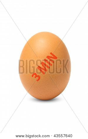Egg with time stamp isolated On A White Background