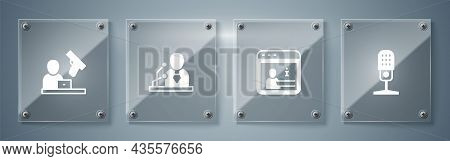 Set Microphone, Information, Breaking News And Crime. Square Glass Panels. Vector