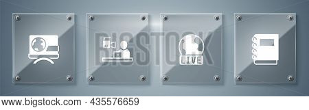 Set Notebook, Live Report, Breaking News And . Square Glass Panels. Vector