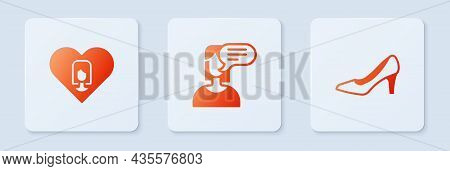 Set Female Opinion, Heart With Female And Woman Shoe. White Square Button. Vector