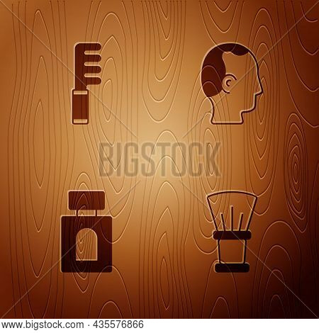 Set Shaving Brush, Hairbrush, Aftershave And Baldness On Wooden Background. Vector