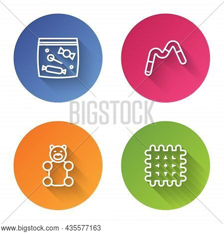 Set Line Candy Packaging For Sweets, Jelly Worms Candy, Bear And Cracker Biscuit. Color Circle Butto