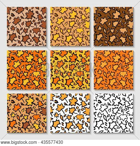 Fall Leopard Or Jaguar Seamless Pattern Made Of Maple Leaves. Trendy Animal Print With Autumn Colors