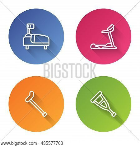 Set Line Hospital Bed, Treadmill Machine, Walking Stick Cane And Crutch Or Crutches. Color Circle Bu