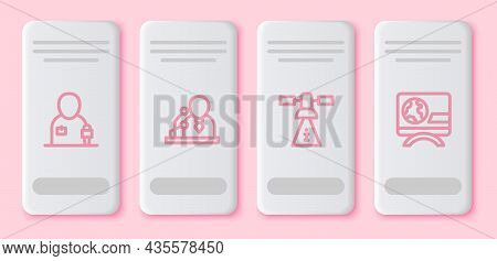 Set Line Journalist News, Breaking, Satellite And . White Rectangle Button. Vector