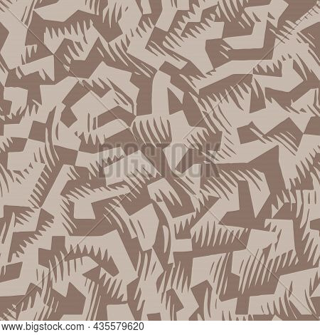 Brown Beige Urban Camouflage Seamless Pattern. Modern Military Two Color Camo Texture. Desert Maskin
