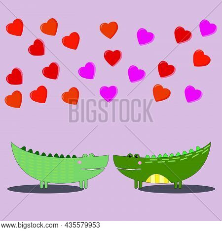 Cute Loving  Crocodiles  Look At Each Other Hearts Fly Above Them On Pink   Isolated Background