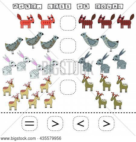 Developing Activities For Children, Compare Which More Deer, Foxes, Birds, Rabbits. Logic Game For C
