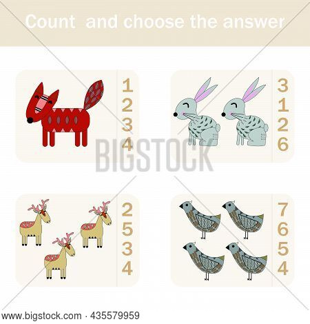 How Many Counting Game With Funny Forest Animals, Deer, Rabbits, Fox, Bird . Preschool Worksheet, Ki