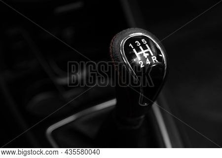 Close-up View Of The Automatic Gearbox Lever. Interior Car,  Automatic Transmission Gearshift Stick