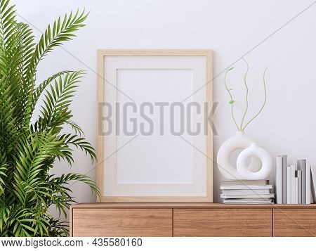 Blank Picture Frame On Wooden Cabinet With White Wall Background 3d Render Decorate Palm Tree And Mi