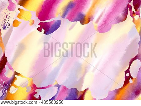 Multicolored Watercolor Stains Hand Drawn Abstract Background. Yellow, Orange, Pink, Lilac, Violet A