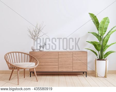 Minimal Style Contemporary Lounge With Empty White Paint Wall 3d Render There Are Plank Decorate Wit