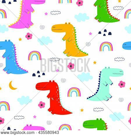 Cartoon Animal Background Crocodiles And Clouds Seamless Pattern Hand Drawn In Child Style Designed