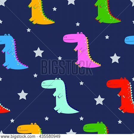 Cartoon Animal Background Crocodile And Stars Seamless Pattern Hand Drawn In Child Style Design Used