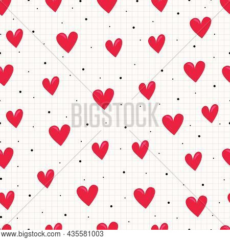 Seamless Pattern Hand Drawn Heart Icon Background In Cartoon Style And With A Square Grid As Wallpap