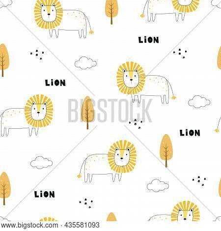 Seamless Lion And Tree Pattern Cartoon Hand Drawn Animal Background In Child Style Designed For Publ