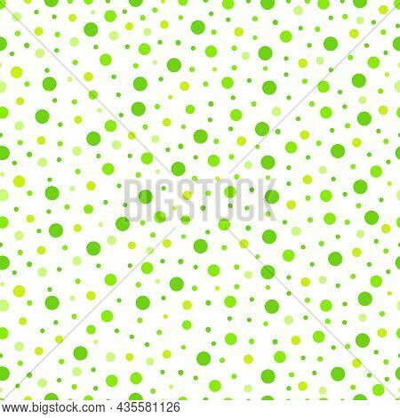 Abstract Polka Dots Background. White Seamless Pattern With Green Circle Design For Publications, Po