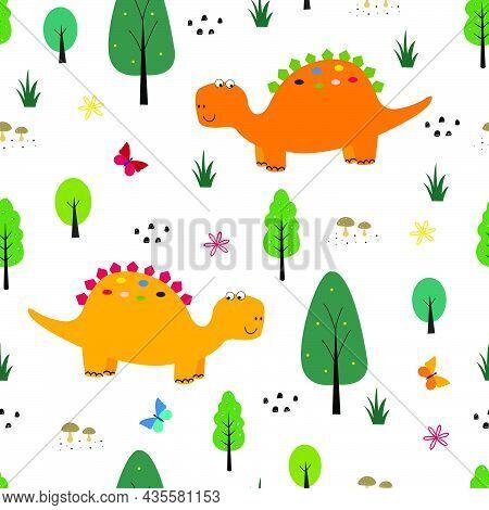 Dinosaur Pattern Seamless Background Cartoon Cute Animals And Nature Hand Drawn In Child Style Desig