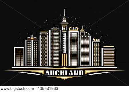 Vector Illustration Of Auckland, Black Horizontal Poster With Linear Design Illuminated Auckland Cit