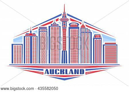 Vector Illustration Of Auckland, Horizontal Poster With Linear Design Auckland City Scape On Day Sky