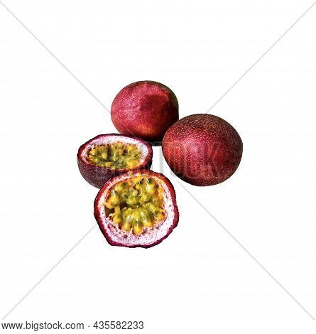 A Photo Of Fruit On A White Background Passion Fruit, Cut, Isolate