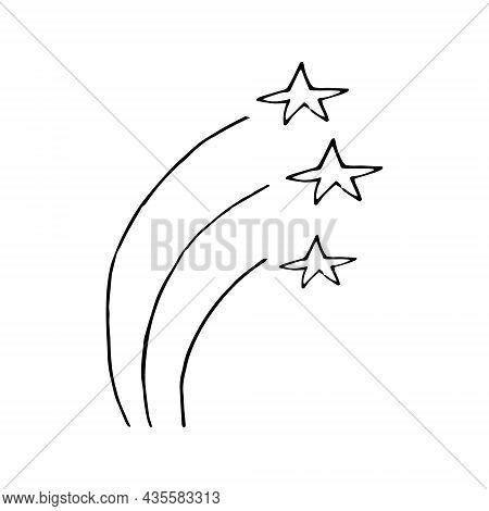 Fireworks Hand Drawn Doodle. Vector, Minimalism, Monochrome. Icon, Sticker. Celebration, New Year, I