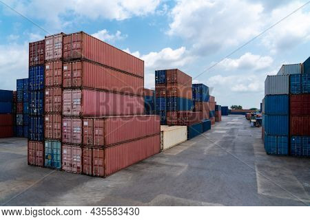 Cargo Container For Overseas Shipping In Shipyard With Heavy Machine . Logistics Supply Chain Manage