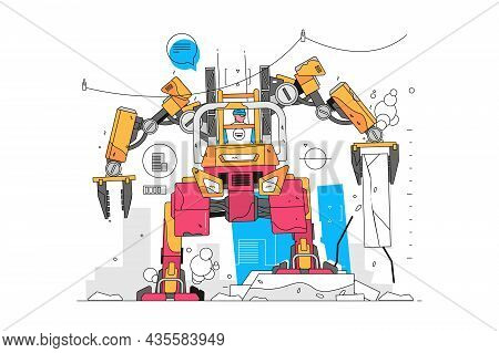 Modern Robot Loader Vector Illustration. Human Control Robot Ruining Building Flat Style. Block Of C