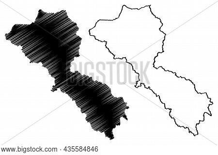 Kargil District (ladakh Union Territory, Republic Of India) Map Vector Illustration, Scribble Sketch