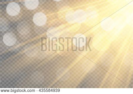Sunlight On A Transparent Background. Glow Light Effects.star Flashed Sequins. Sun Glare On Transpar