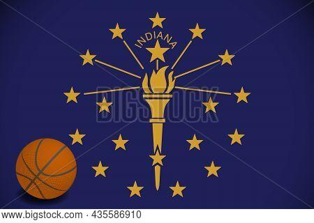 Indiana Flag With Realistic Basketball Ball, Vector