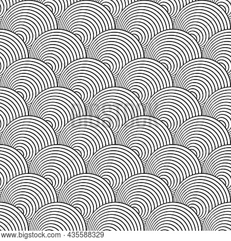 Abstract Seamless Op Art Pattern In Fish Scale Design. Vector Illustration.