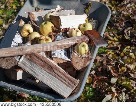 A Garden Trolley Loaded With Firewood, Apples And A Chopper On The Top, Autumn Motif