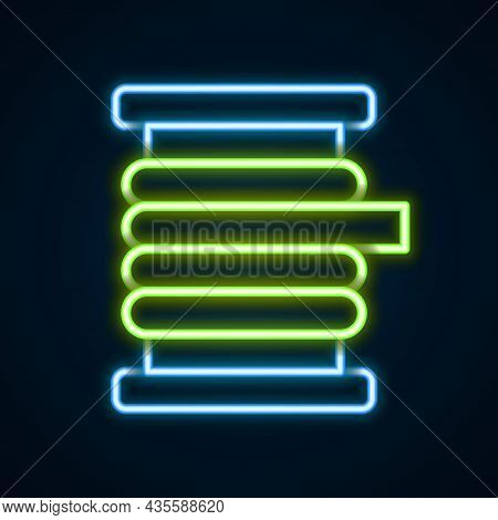 Glowing Neon Line Wire Electric Cable On A Reel Or Drum Icon Isolated On Black Background. Colorful