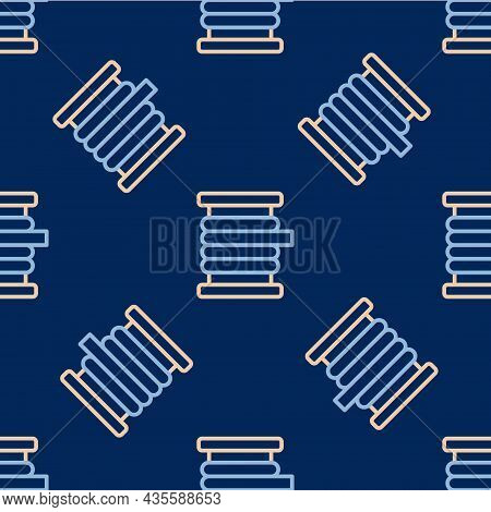 Line Wire Electric Cable On A Reel Or Drum Icon Isolated Seamless Pattern On Blue Background. Vector
