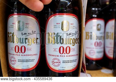 Volzhsky, Russia-september 21, 2021: Bitburger Non-alcoholic Beer Is A German Brewery Founded By Joh