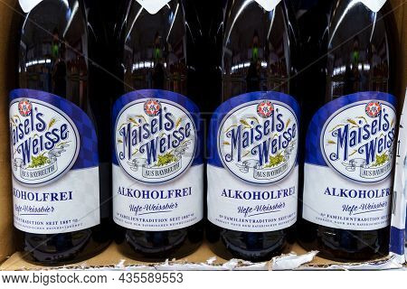 Volzhsky, Russia-september 21, 2021: Bottle Of The Original Maisels Weisse Beer, No Alcohol. Selecti