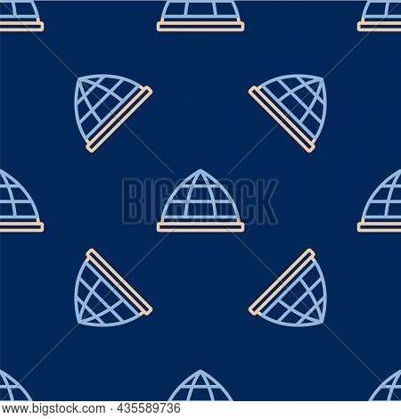 Line Playground Climbing Equipment Icon Isolated Seamless Pattern On Blue Background. Kid Playground