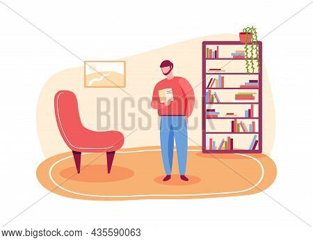 Man In Library Reading Book, Study And Education. Vector Interior Library, Man Student Study Hold Bo