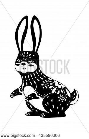 Image Rabbit Or Bunny, Sacred And Mysterious Animal. Boho Rabbit Animal Illustration, Magic And Myst