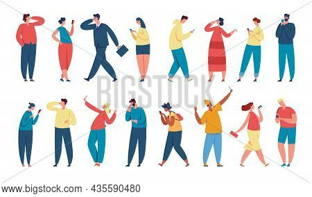 People Using Smartphones, Young Characters Holding Phone. Businessman Talking On Smartphone, Men And