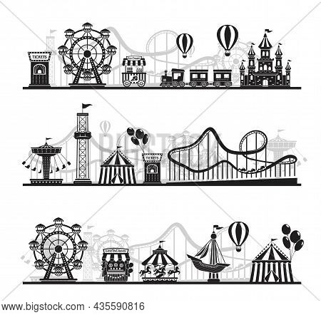Amusement Park Landscape Silhouette, Carnival Fairground Rides. Roller Coaster, Carousel, Horizontal
