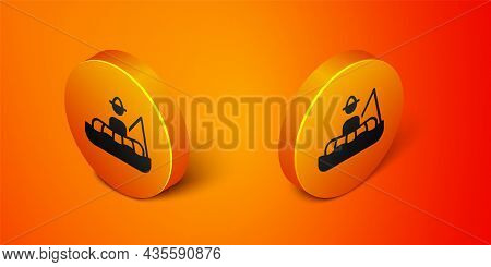 Isometric Fisherman Sitting In A Boat And Fishing With A Rod Icon Isolated On Orange Background. Ora
