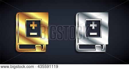 Gold And Silver Book With Mathematics Icon Isolated On Black Background. Math Book. Education Concep
