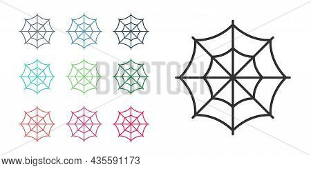 Black Spider Web Icon Isolated On White Background. Cobweb Sign. Happy Halloween Party. Set Icons Co